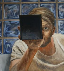 Self-portrait with a box